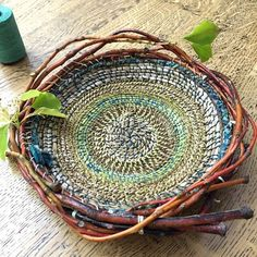 loosely woven basketry — where the twigs landed. Macrame , loosely woven basketry — where the twigs landed. loosely woven basketry — where the twigs landed. Weaving Projects, Weaving Art, Tapestry Weaving, Loom Weaving, Art Projects, Rope Basket, Basket Weaving, Circular Weaving, Pine Needle Baskets