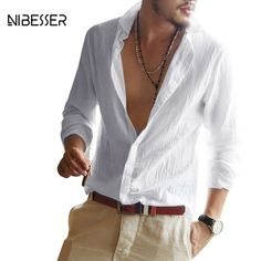 bffe3c11f3 Cheap NIBESSER primavera Lino Turn Down Collar camisas de los hombres  camisas de manga larga hombres
