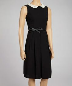 Take a look at this Black & White Peter Pan Collar Belted Dress by Nancy Yang on #zulily today!