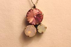 Swarovski Pink & Opal Triple Stone Pendant on by gemforjoy on Etsy