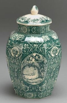 Victorian Teal Green porcelain jar