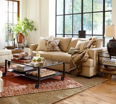 Cool Pottery Barn Rugs For Indoor And Outdoor : Cool Red Desa Guntufted Pottery Barn Rug Design Inspiration in Classy White Living Room with ThreeSeat Beige Sofa