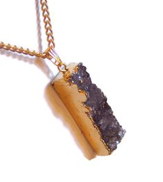 """NECKLACE, AMETHYST DRUZY. Golden Electroplated Natural Amethyst Druzy Gemstone Pendant on 18"""" Gold Plated Chain. Free Shipping by colorsofthesouthwest. Explore more products on http://colorsofthesouthwest.etsy.com"""