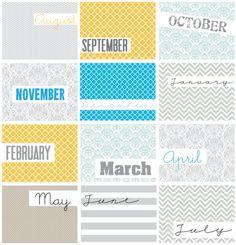 Free Project Life Month Filler Cards | [ One Velvet Morning ]