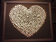 Silver Heart Thumbtack Art - in a silver frame