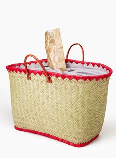 Woven Straw Bag Red Raffia Trim Leather Handles summer beach farmers market picnic park office work lightweight tote affordable women's fashion NYC