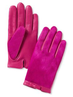 PANTONE Color of the Year 2014 - Radiant Orchid fashion - These appear to be Bright Winter, a simple glove that will work for many types, maybe excepting Classics on whom pony hair is a little too out there.