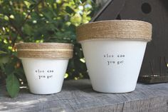 """Aloe Can You Go?  4"""" and 6"""" pots available for your aloe vera plant!  Pot does not include plant. These hand painted and stamped pots are perfect for your indoor herb garden! All pots made by Plant Puns are sealed with an earth safe finish for safe growing and consumption of edible herbs. Pots contain a drainage hole. Is this a gift?! Send us a message and we'll be sure to include a special note from YOU free of charge! If you're looking for a set of herbs be sure to check out our specials…"""