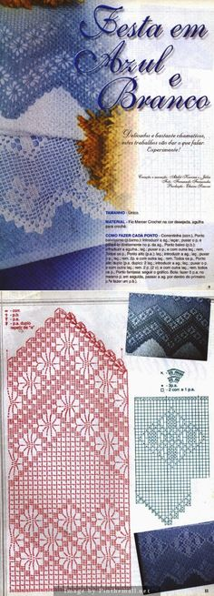 Filet crochet lace edging, double spider zigzag points ~~ http://crocheartemanuais.blogspot.com/2013/12/barradinhos_7447.html