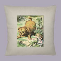 Alice and Giant Puppy, Alice in Wonderland Illustration on Oyster/Ivory Burlap Pillow Slip, 16x15 Handmade by WhimsyFrills, $28.00
