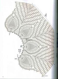 Crochet cape or blouse free pattern. Caplet Pattern, Crochet Bolero Pattern, Crochet Cape, Crochet Motifs, Crochet Collar, Crochet Diagram, Crochet Stitches Patterns, Crochet Blouse, Crochet Shawl