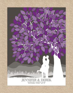Guest Book Tree // Personalized Skyline & Choice of Silhouette // Wedding Guestbook Alternative // 175 Signature // W-T05-1PS
