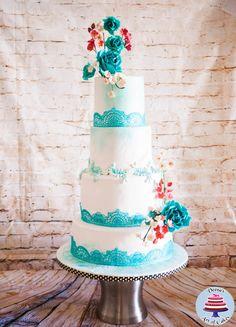 Turquoise Lace Wedding Cake  by Veenas Art of Cakes  - http://cakesdecor.com/cakes/210041-turquoise-lace-wedding-cake