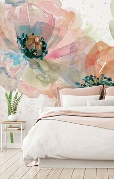 How to make a small room look bigger with a wall mural from Wallsauce. Stunning Summer Fields wall mural from Wallsauce. This high quality Summer Fields wallpaper is custom made to your dimensions. Easy to order and install plus fre Watercolor Wallpaper, Watercolor Walls, Floral Watercolor, Watercolour Painting, Bedroom Murals, Bedroom Wall, Bedroom Decor, Wall Decor, Teen Bedroom