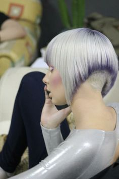 short hair art... I love how there is just a hint of purple accentuating the cut