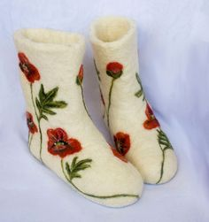 "Felted wool slippers boots ""Poppies"""