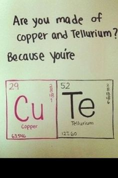 Periodic table aw the element of cuteness typographic chalkboard are you made of copper and tellurium because your cu te cute science humor urtaz Image collections