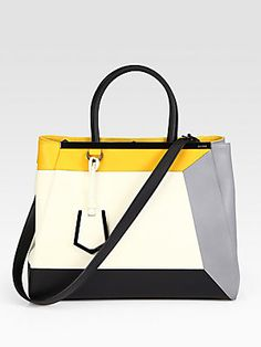 """Fendi 2Jour Medium Colorblock Satchel    A chic, colorblock design in luxurious leather with a logo bar detail.  Double top handles, 5½"""" drop  Detachable shoulder strap, 13½"""" drop  Snap button tab closure  Protective metal feet  Three inner compartments  Two inside open pockets  Linen lining  14""""W X 11""""H X 5¾""""D  Made in Italy"""