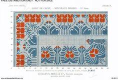 D.M.C. Point de Croix Nouveaux Dessins (1re Série) page 14. Art nouveau borders and corners, floral, red and blue
