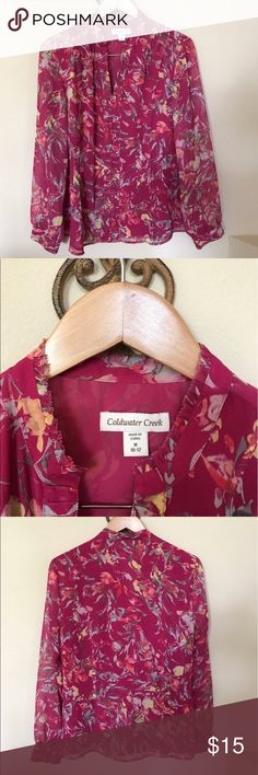 Coldwater Creek Pink floral Button Down Blouse Coldwater Creek Pink floral Button Down long sleeve Blouse. Size 10/12 Coldwater Creek Tops Blouses