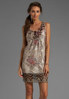 """""""Anna Sui Tulip Bouquet Floral Jacquard Dress in Antique Ivory Multi""""-love this floral dress with lace detail. Perfect for a guest at a summer wedding! #revolveclothing #summerisinbloom"""