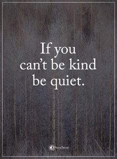 If you can't be kind, be quiet! #bekind #kindness #quotes