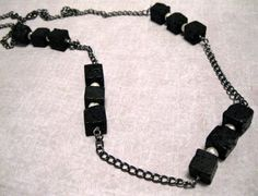 Lava Rock Pearl Necklace Long Chain Necklace by GlossyRegalia