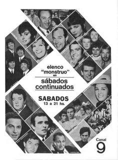 Publicidad del programa SABADOS CONTINUADOS, Canal 9, Buenos Aires, década del 60.