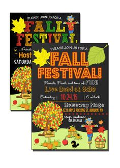 Fall Festival Invitations colorful and by CustomPrintablesNY