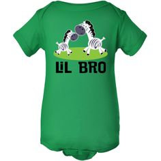 Cute little pair of zebras with Lil Bro sibling slogan comes on a Infant Creeper gift for a little boy. $16.99 www.homewiseshopperkids.com