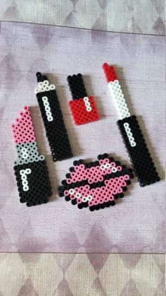 Perler Bead Make-Up by PerlerCreationsShop on Etsy ideas Mak . - Perler Bead Make-Up by PerlerCreationsShop on Etsy up ideas makeup - Perler Bead Designs, Easy Perler Bead Patterns, Melty Bead Patterns, Perler Bead Templates, Hama Beads Design, Bead Embroidery Patterns, Diy Perler Beads, Perler Bead Art, Pearler Beads