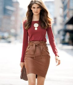 Faux Leather Skirt Brown