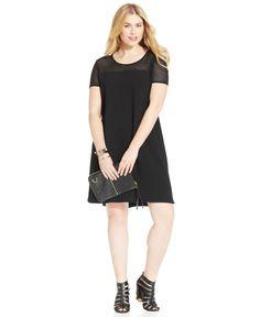 Soprano Plus Size Short-Sleeve Illusion Shift Dress