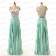 2015 New Long Mint Crystal Beaded Prom Dresses Chiffon Formal Evening Party Gown #perfectevening