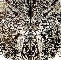Exquisite paper cut bug art by Brooklyn artist Kako Ueda