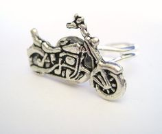 Motorcycle Ring Womens Mens Silver Ring by SpotLightJewelry, $15.95