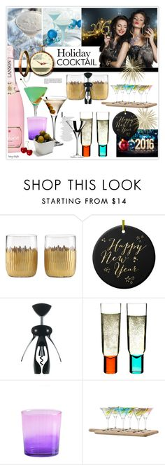 """""""Holiday Cocktails"""" by mcheffer ❤ liked on Polyvore featuring interior, interiors, interior design, home, home decor, interior decorating, Lenox, OXO, Shiraleah and LSA International"""