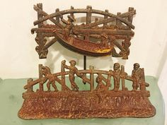 Captivating but mysterious antique Cast Iron 2 pc work of art - but we don't know what it was made for! Boys Fishing on Bridge Mystery Piece Black Americana