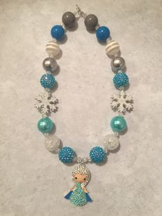 Elsa Frozen Chunky Bead Necklace by PrepEJewels on Etsy