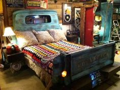 Cool idea for rustic guest bedroom or somesuch