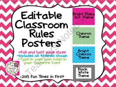 Editable Classroom Rules Posters (4 color themes) from Fun Times in First on TeachersNotebook.com -  (43 pages)  - Customize and make your very own rules posters while choosing from four color themes to best match you classroom decor!