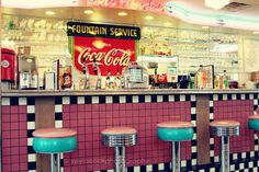 Retro home decor Retro diner, wall art, soda fountain, travel photography, pastel, vintage