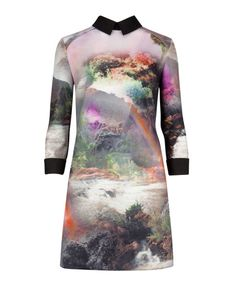 Rainbow waterfall collared dress - Mid Green   Dresses   Ted Baker UK