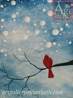 Watching Snow Fall -  - one of many paintings London, Ontario residents can learn to paint at the #AGLArtStudio #DateNight #NightOut #ldnont #Art #bird #winter Register at http://artgalleryoflambeth.com/new-calendar-events-page/
