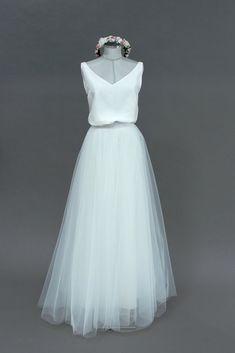 noni | Tüllrock, Brautkleid Ivory zur Hochzeit #brautkleid #schlicht