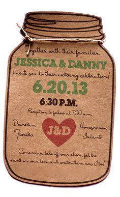Dye Cut Mason Jar Wedding Invitation for the by AestheticJourneys, $1.50