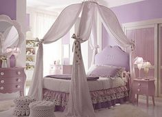 Canopy Bed for Girls--have perfect bed for her. I'm thinking solid sheets and maybe burlap bows