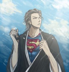 Another Cosplay! The victim are Aizen from Beach And SuperMan for obviously SuperMan. Its a bird.NO ITS SUPERMAN Aizen Sosuke, Otaku, Yandere Simulator, Bleach Anime, Man Of Steel, Character Development, One Punch Man, Dark Fashion, All Art