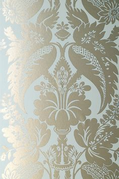 Duck egg blue - so soothing: Anna French Glamour Tyntesfield Duck Egg Blue and Gold - Wallpaper Dining Room Wallpaper, Bathroom Wallpaper, Fabric Wallpaper, Pattern Wallpaper, Flock Wallpaper, Wallpaper Borders, Gold Wallpaper Designs, Designer Wallpaper, Wallpaper Ideas