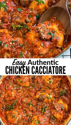 """This easy chicken cacciatore (chicken prepared """"hunter style"""") features boneless chicken thighs slow simmered with tomatoes, vegetables and Italian spices. Its rich authentic flavors make this one of our family's favorite easy, healthy dinners! #wellplated #italianfood via @wellplated"""